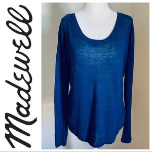 MADEWELL Slouchy Long Sleeve Blue SWEATER Top